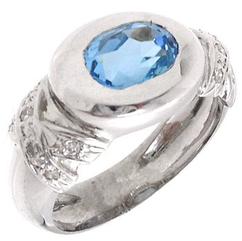 4558: 14KW 3ct Blue Topaz Oval & Diamond Ring, 841874