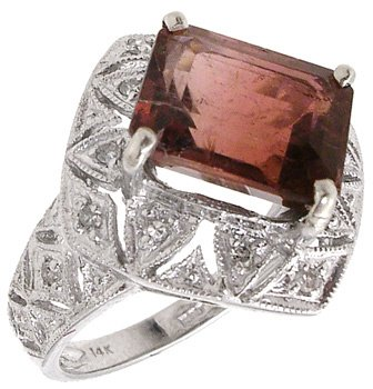 4561: 14KW 4.05cttw Tourmaline Diamond Ring, 659929