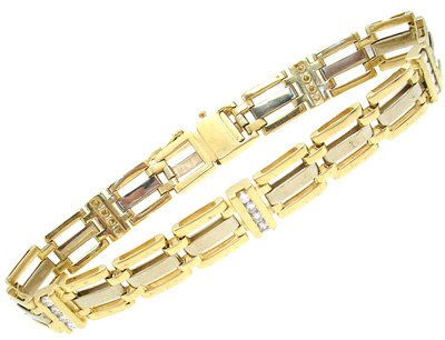 4564: 14KY 1cttw Diamond 3 row Link Bracelet 28.6grams,