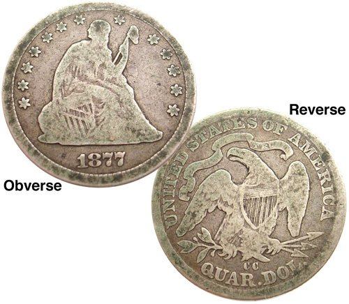 4572: 1877 Seated Liberty Quarter CARSON CITY!!, 843098