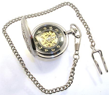 272: 200S Mechanical Mov POCKET WATCH w/Chain Clasp
