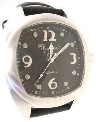 270: Marcel Druker Silver Tone Leather Mens Watch