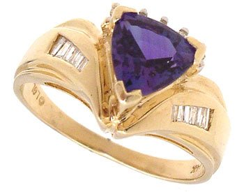 265: 14KY 1.30cttw Alexandrite Trillion Diamond Ring