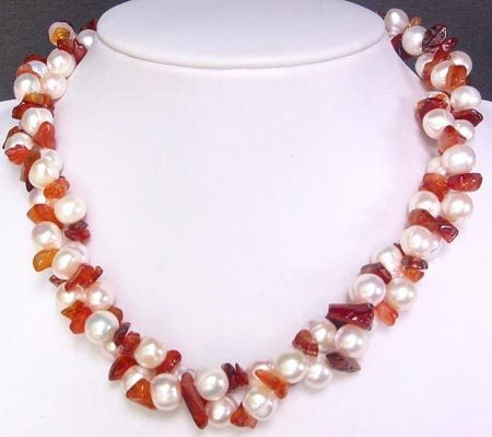 256: White Pearl Necklace w/ Carnelian Nuggets