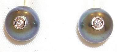 634: 18KW 7.5mm Black Pearl dia earring