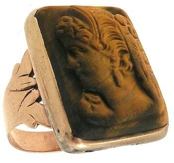 536A: 14KY Victorian Tiger Eye Cameo Gold Ring