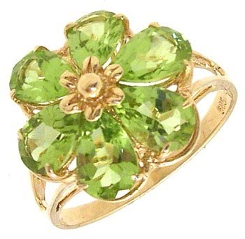 526: 14KY 2.5ct Peridot flower ring