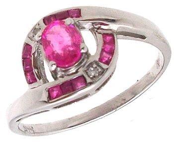 1250: 14KW Ruby oval princess diamonds ring