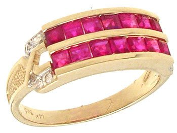 1251: 14KYG 1.15cttw Ruby Diamond 2 Row Band Ring