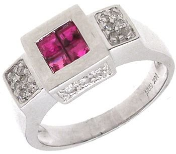 1252: 14WG .55cttw Ruby Channel Diamond Band Ring