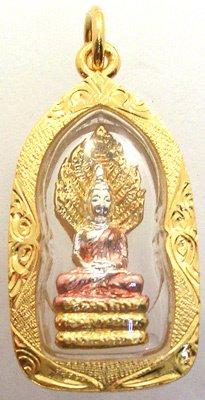 1256: 22K Y TRI GOLD NAGA BUDDHA Pendant