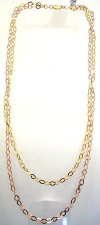 1257: 14KY 2 tone Pyramid Link Double Strand Necklace