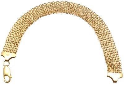 1258: 18KY Italian Link Weave Bracelet