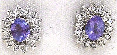 1260: 14KW 1cttw Tanzanite oval diamond flower stud ear
