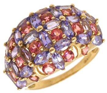 1261: 14KY 3cttw Tanzanite Pink Tourmaline Mq/rd Ring