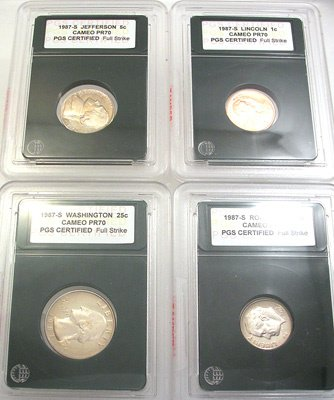 1268: 1987-S CERTIFIED SLABBED PROOF CAMEO PR70 4 COINS