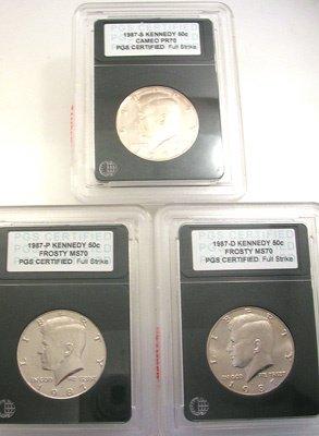 1269: 1987 Kennedy Half Dollar P.G.S. 3 Coin Collection
