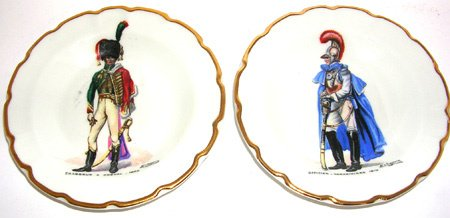 1273: Limoges set of 11 French officers Ash trays
