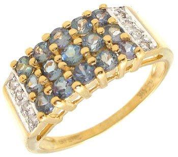 1551: 14KY 1cttw Alexanderite Diamond 3 row ring