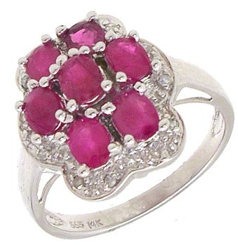 1552: 14KW 1.84ct Ruby Diamond Flower Ring