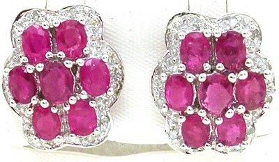 1553: 14KW 3.2cttw Ruby Diamond Flower Earring