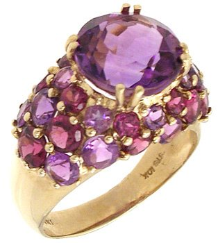 1555: 10KY 6cttw Amethyst rd wide band ring