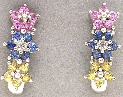 1558: 10KW Multi-Sapphire Flower Earring