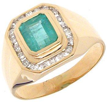 1560: 14YG .92ct Emerald E-cut .27cttw Dia Mens RIng