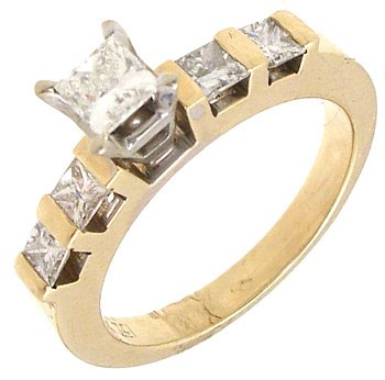 1563: 14KY .75cttw Diamond princess channel ring