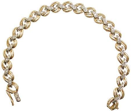 1564: 14KY .25cttw Diamond ribbon link bracelet