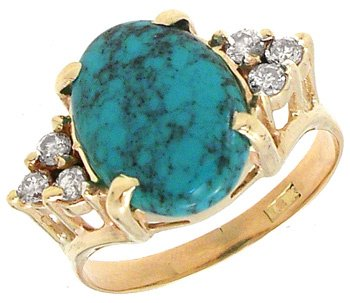 1565: 18KY 2.73ct Turquoise .45cttw Diamond Ring