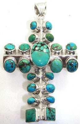 1567: SSilver Turquoise Cross pendant