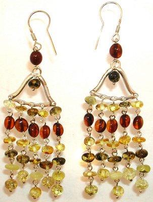 1569: Sterling tri color Amber bell chandelier earring
