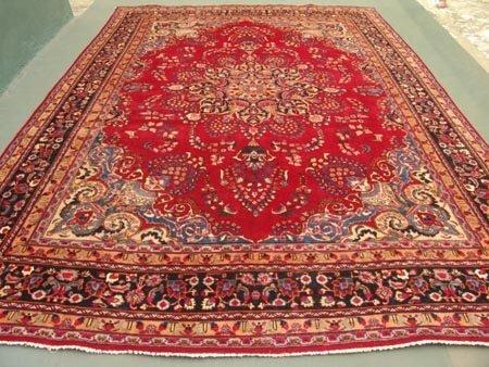 1649: Stunning Large Persian Mashad Rug 13x9