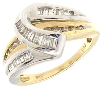2252: 14KW 2 tone .50cttw Diamond Bagguette Round Ring