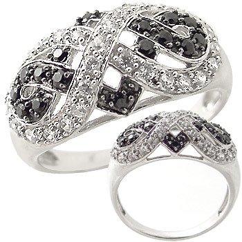 2259: WG white black Cubic zirconia antique ring