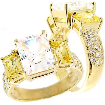 2260: 2.75ct Cubic Zirconia /Canary Cz 3 stone ring
