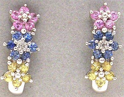 2262: 10KW Multi-Sapphire Flower Earring