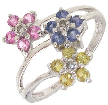 2263: 10KW Multi-Sapphire Flower Ring