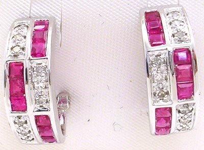 2265: 14WG .1.26ct Ruby .18ct diamond chan earring