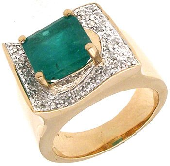 2410: 14KY 3.74ct Brazilian Emerald Cushion .35cttw Dia
