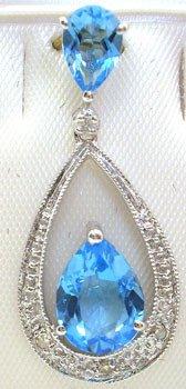 2550: 14KW 1.50ct Blue Topaz pear dia drop pendant