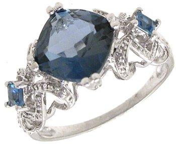 2552: 14KW Blue Topaz Cushion Princess Vintage Ring