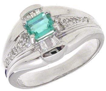 2563: 14KW .35ct Emerald Princess .17cttw Dia Ring
