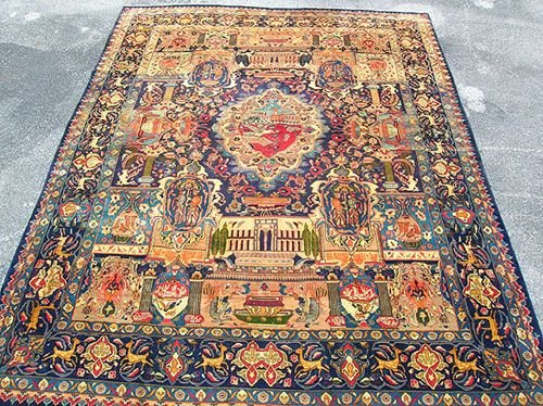 2624: Amazing Large Persian Kashmar Pictorial Rug