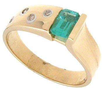 3551: 14KY .42ct Emerald dia Band: 124412: