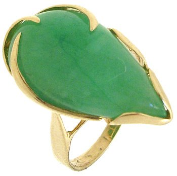 3556: 14KY 11x20mm Jade Pear Ring: 781163: