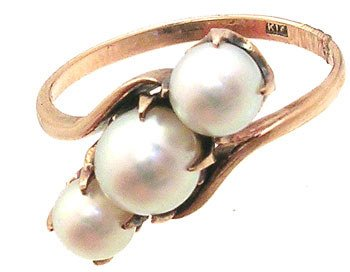3559: 14KY 3-PEARL PPF RING: 841086: