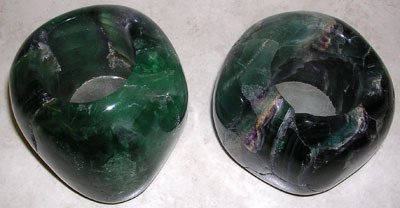 3572: Pair of Flourite Candle Holders: flt75: