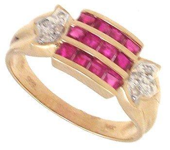 3256: 14KYG .68cttw Ruby Diamond 3 Row Band Ring 130699